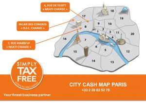 Carte des guichets de remboursement de la détaxe dans Paris